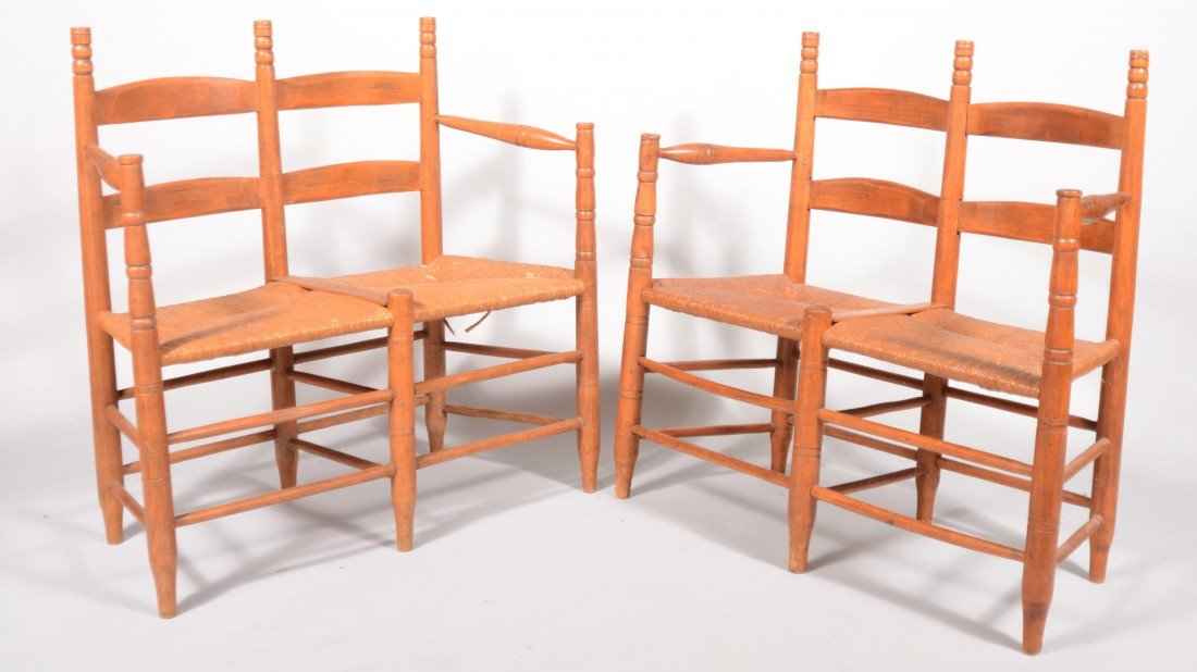 264: Pair of 19th Century Rush Seat Wagon Benches with