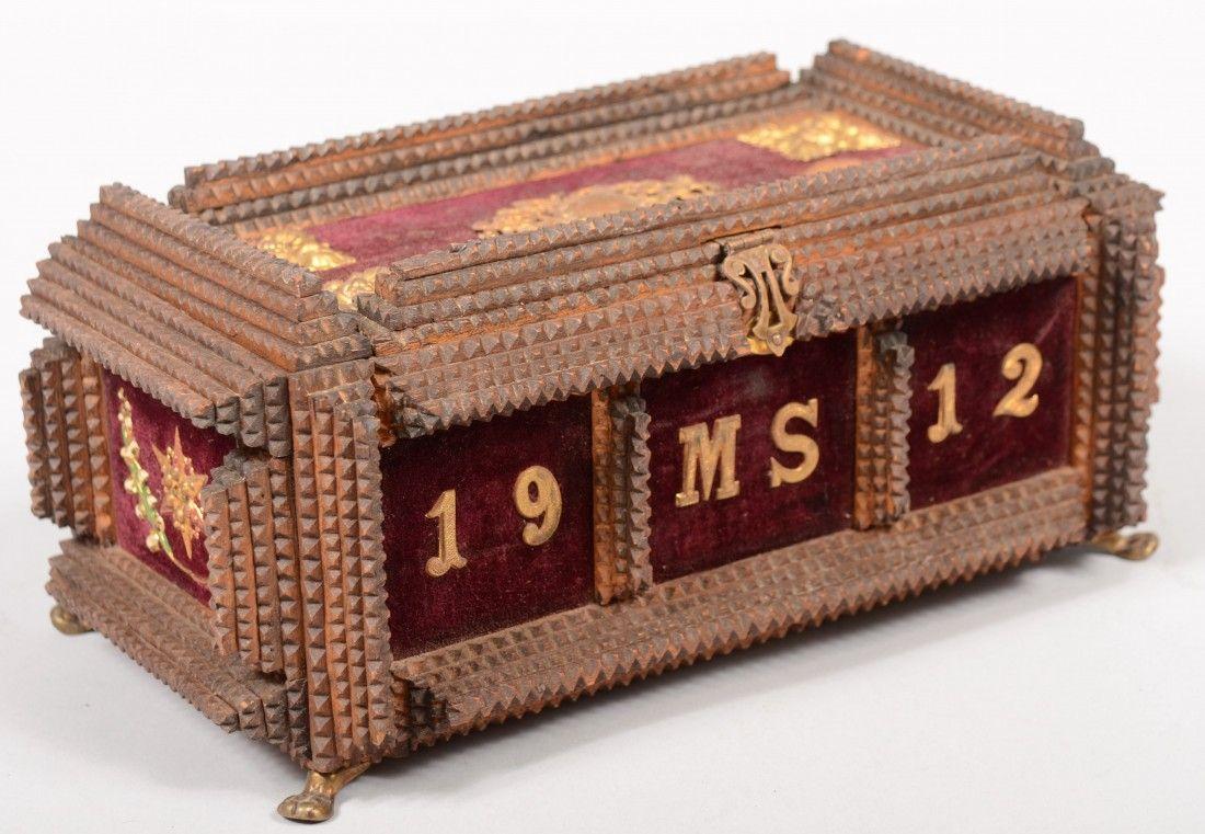 678: Chip Carved Tramp Art Dresser Box. Four layer chip