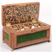 691: Tramp Art Chip Carved Boxed Desk Set. Green velvet