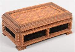 705 Parquet and Chip Carved Tramp Art Trinket Box Fin