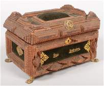 717 Chip Carved Tramp Art Dresser Box Four layer chip