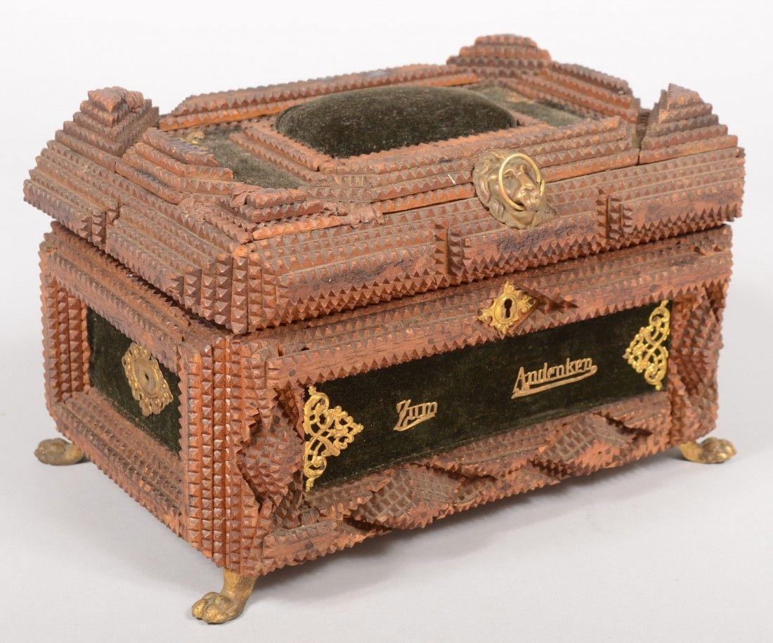 717: Chip Carved Tramp Art Dresser Box. Four layer chip