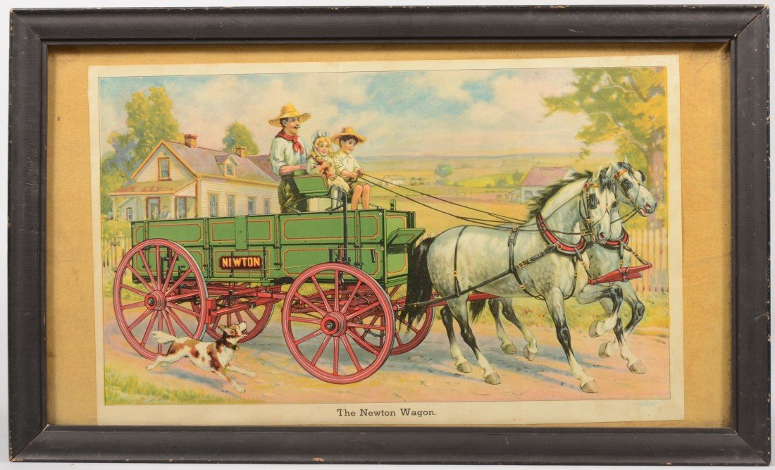 "2: ""The Newton Wagon"" Framed Color Lithographic Handbil"