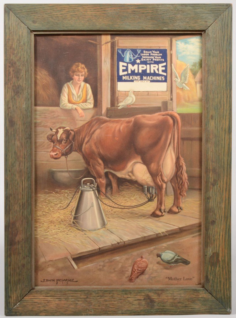 7: Empire Milking Machines Ad in Frame. Color lithograp