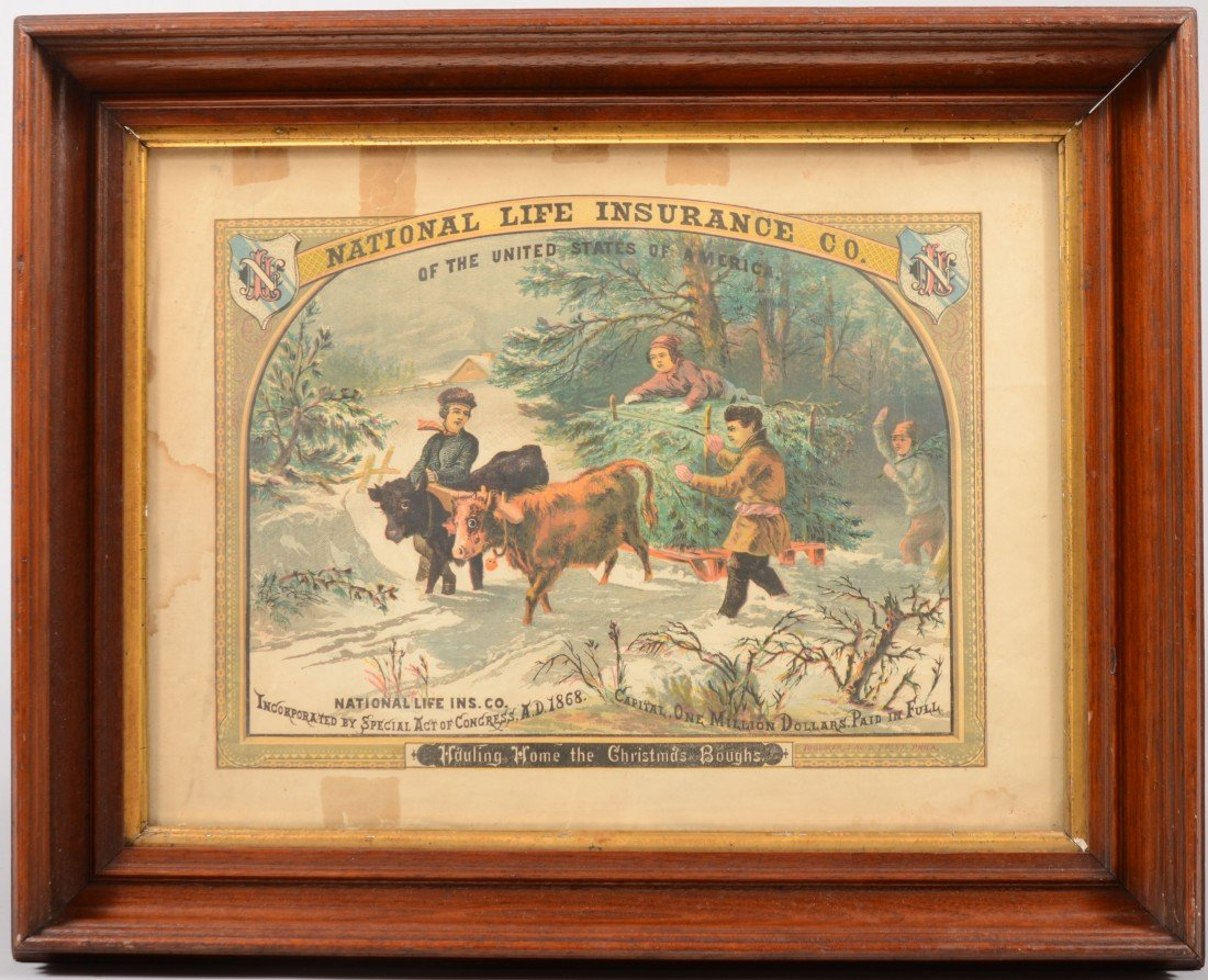 8: Framed National Life Insurance Co. Broadside. Imprin