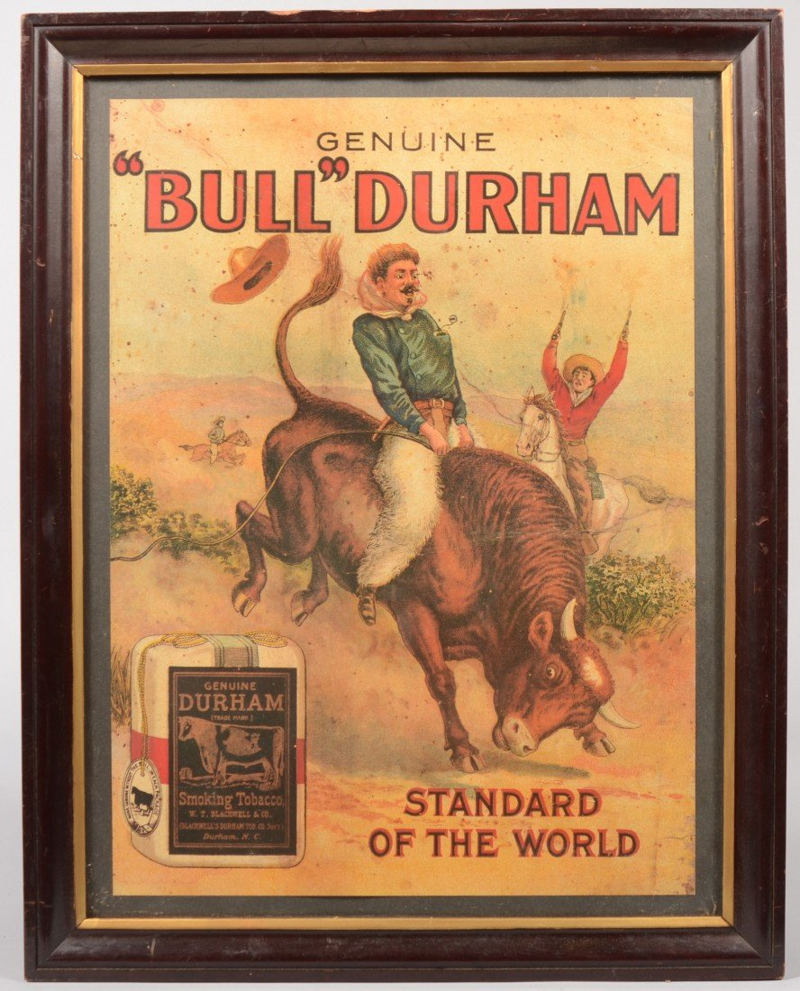 "11: Reproduction of a ""Bull"" Durham Poster in Frame. Co"