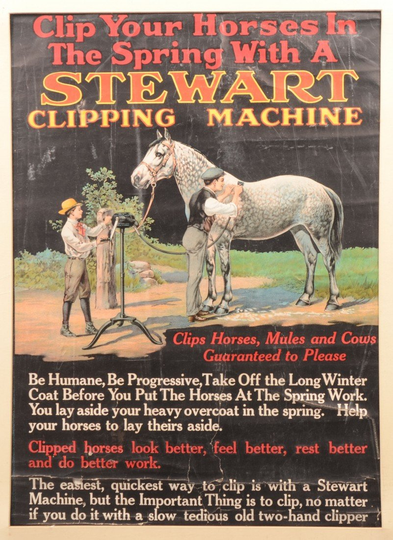15: Stewart Clipping Machine Poster. Color lithographic