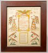 192 Hand Decorated Printed Taufschein Spread eagle ov