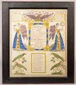 193: Hand Decorated Printed Taufschein. Spread eagle ov