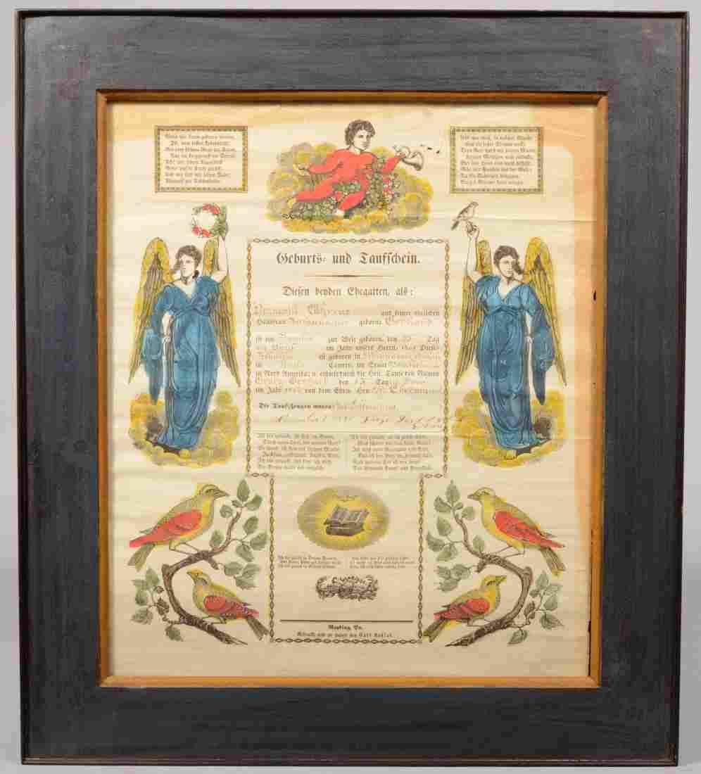 194: Illuminated Printed Taufschein in Frame. Putti in