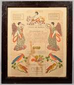 195 Watercolor Decorated Printed Taufschein in Frame