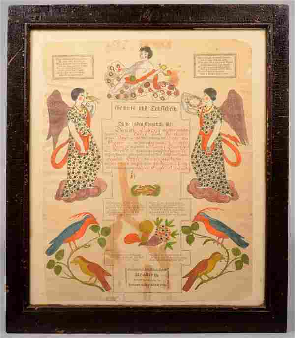 Watercolor Decorated Printed Taufschein in Frame.