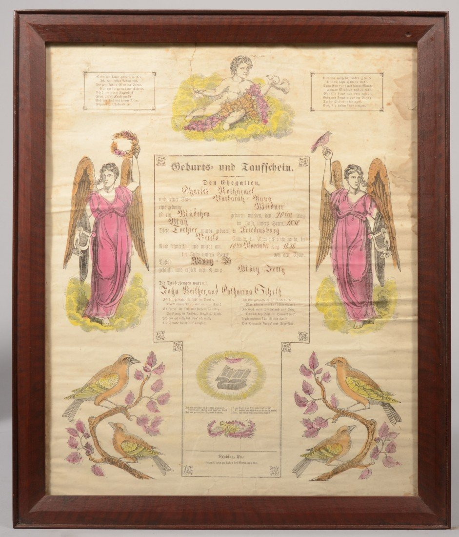 197: Printed and Handcolored Taufschein in Frame. Centr