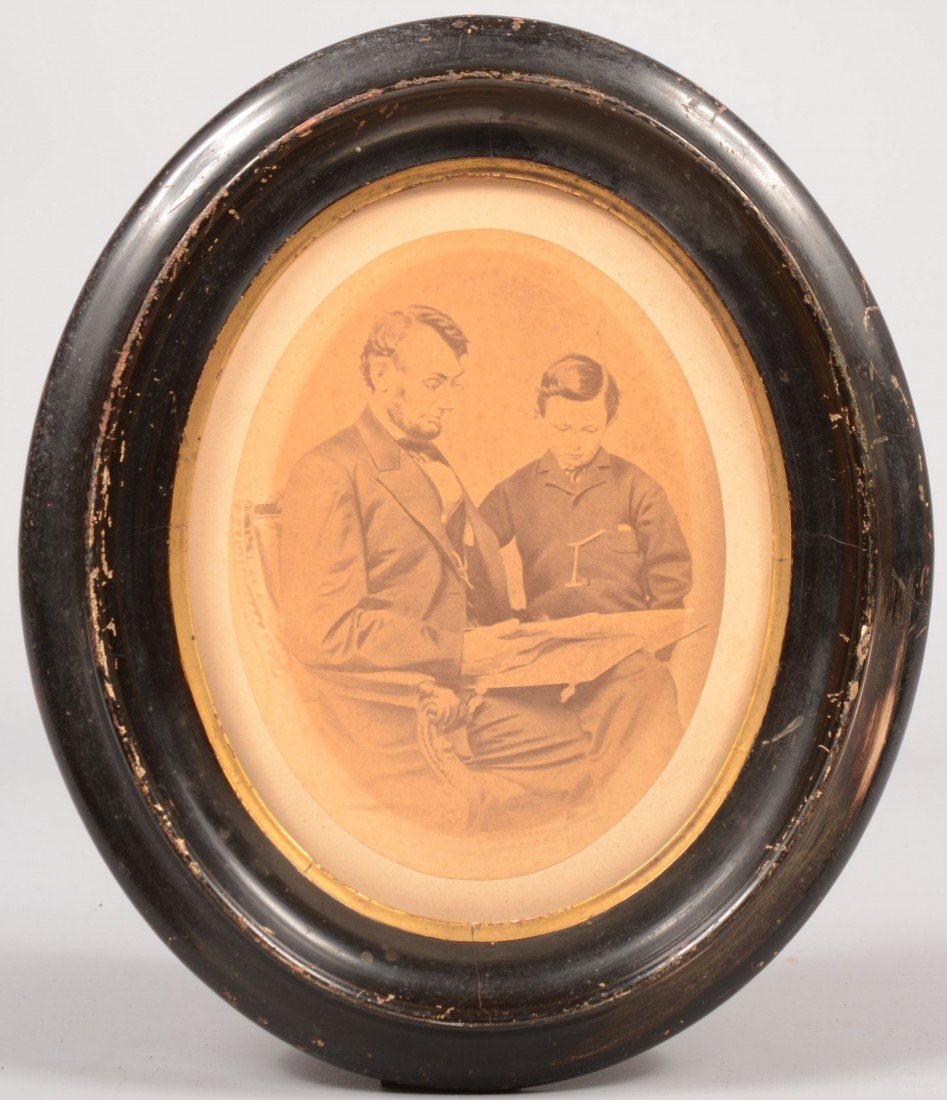 4: Oval Sepia Photograph of President Lincoln with Son