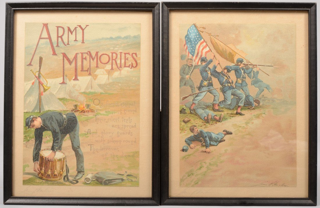 """9: Two Color Lithographs, """"Army Memories."""" Image shows"""