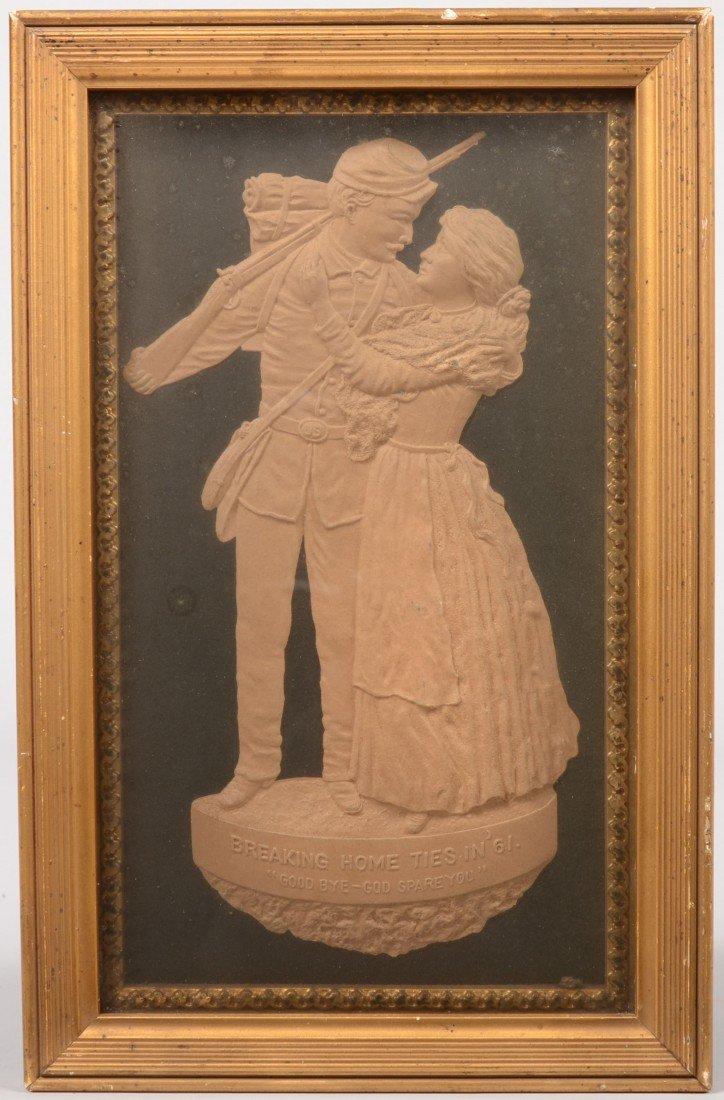 10: Die Stamped Paperboard Bas Relief of a Civil War So