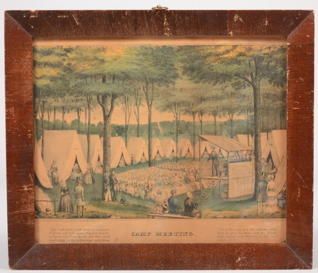 11: Water Colored Lithographic Print of a Camp Meeting.
