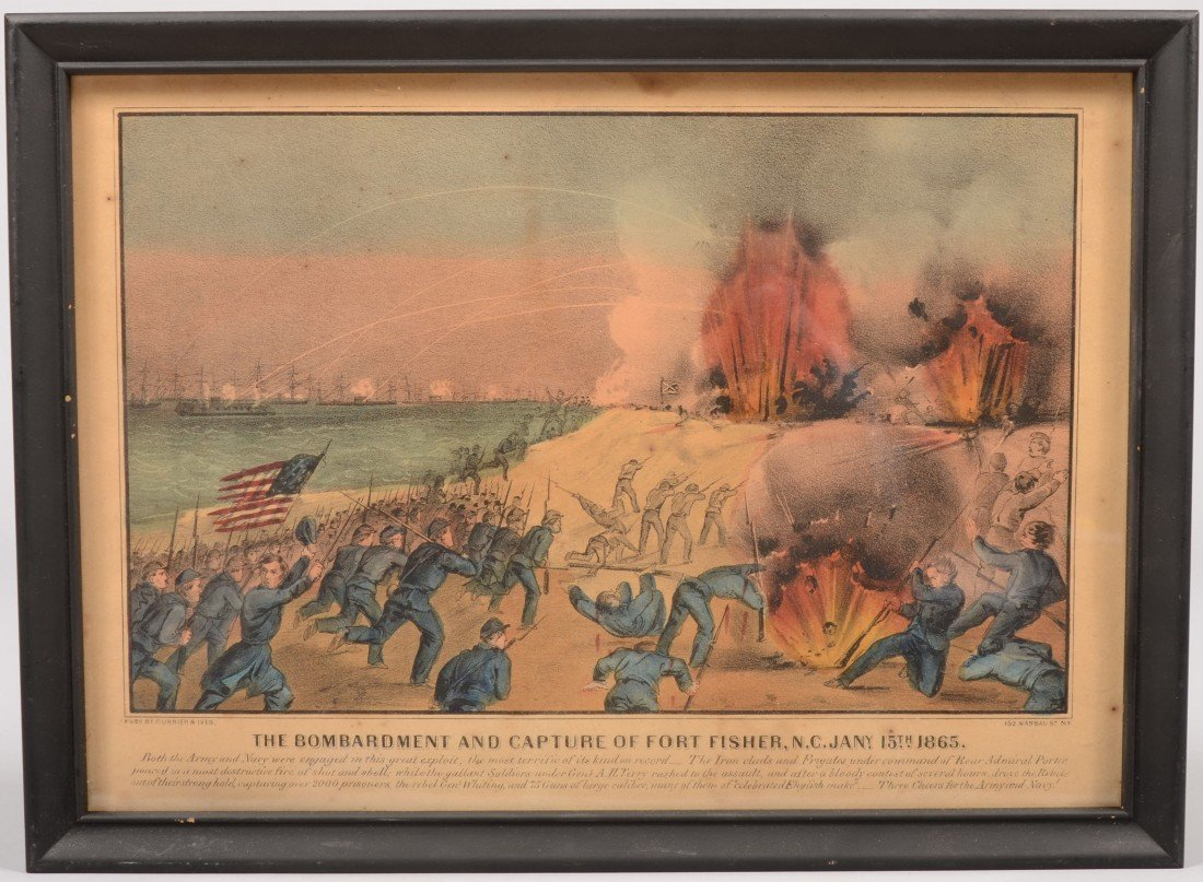"""13: Currier & Ives Water Colored Lithograph of """"Bombard"""