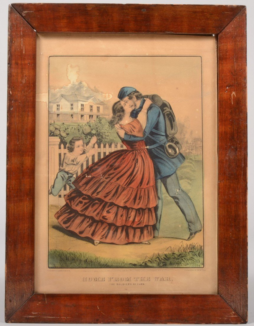 """14: Currier & Ives Water Colored Lithograph titled: """"Ho"""