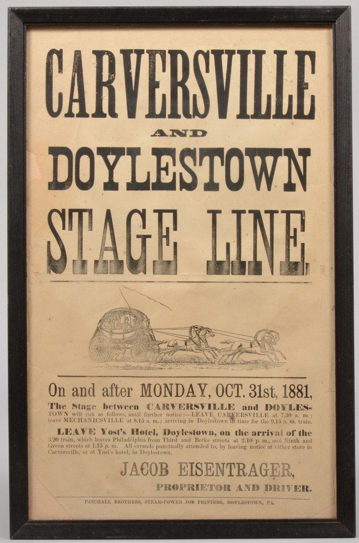 "17: Broadside for ""Carversville and Doylestown Stage Li"