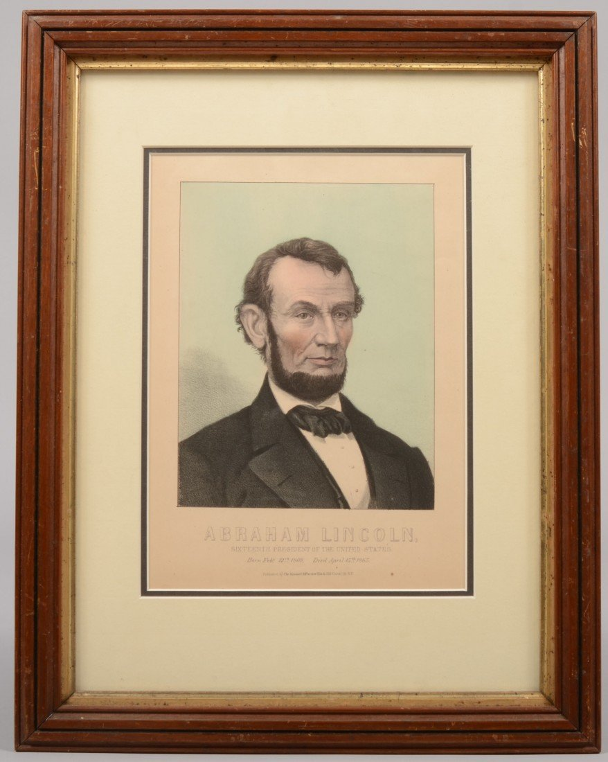19: Color Lithographic Portrait of President Lincoln. P