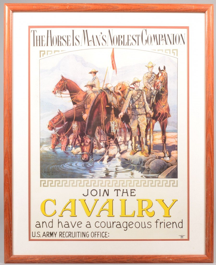 """23: """"Join the Cavalry"""" Color Lithographic U.S. Army Rec"""