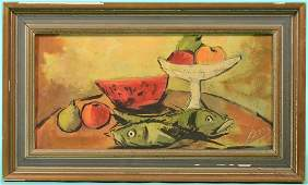Still Life with Fish, Oil on Canvas. Modern view of