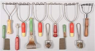 119: Twelve Painted Wood Handled Kitchen Utensils. Seve
