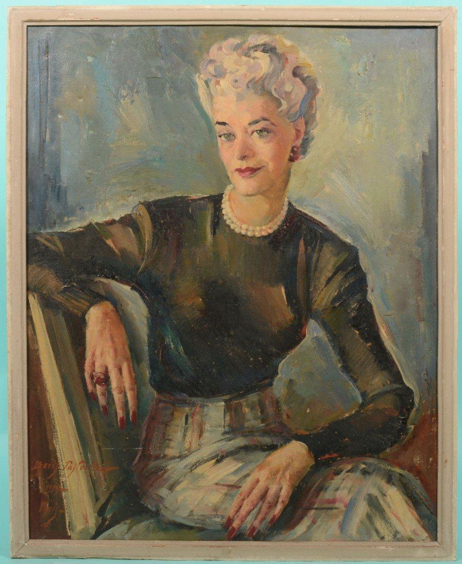 "205: Portrait of a Woman, Oil on Canvas. Signed: ""Boris"