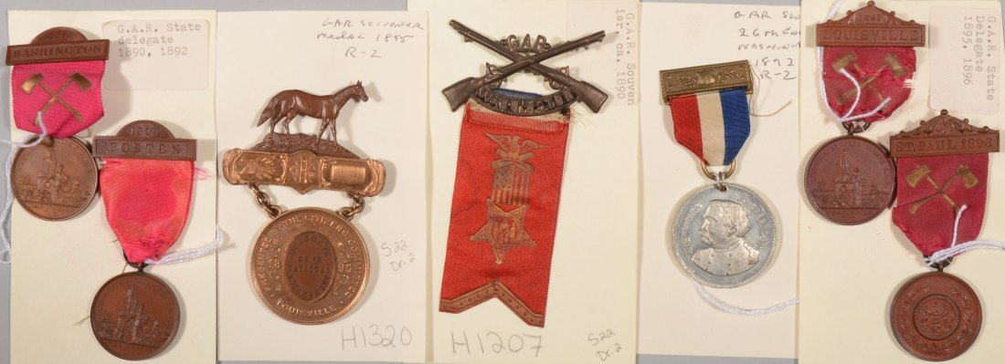 4: Lot of (7) GAR state Encampment medals dated 1890 to