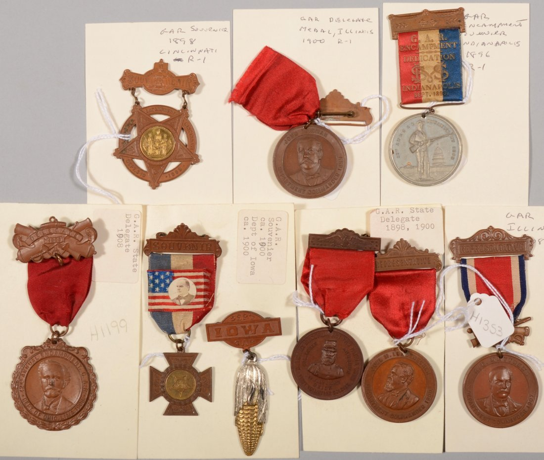 5: Lot of (9) GAR state Encampment medals dated 1893 to