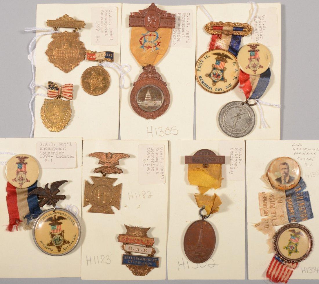 12: Lot of (13) GAR Encampment medals and badges 1892 t