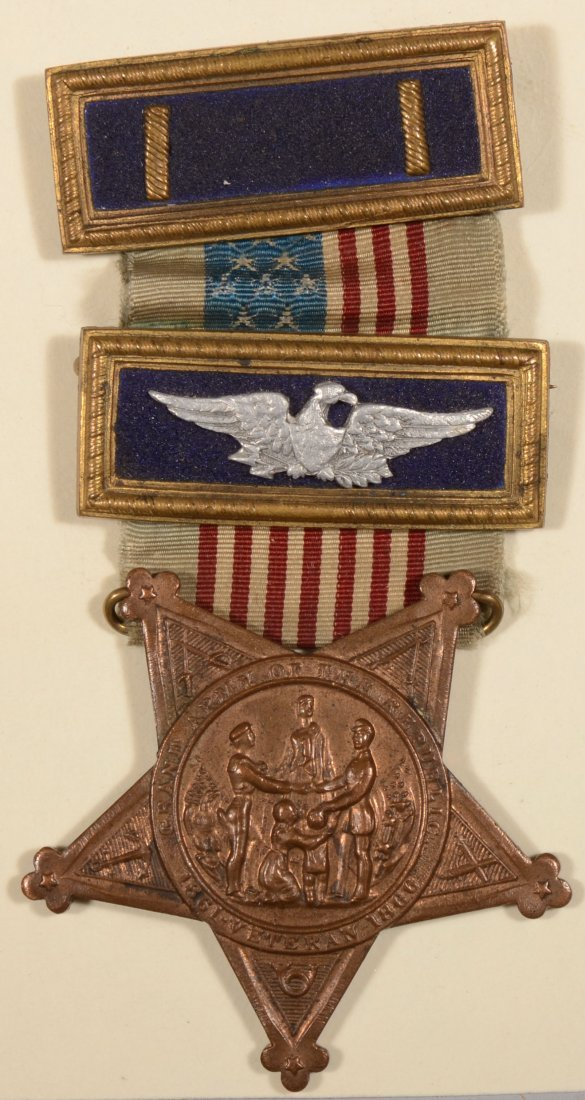 14: GAR Membership badge having (2) officer straps; one
