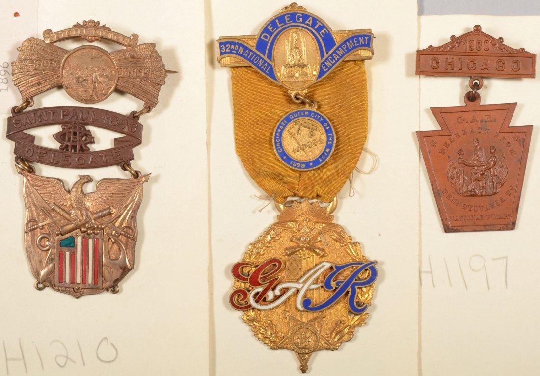 19: Lot of (3) GAR National Encampment Delegate medals:
