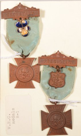 Lot Of (2) Women's Relief Corps Officer Badges: Pre