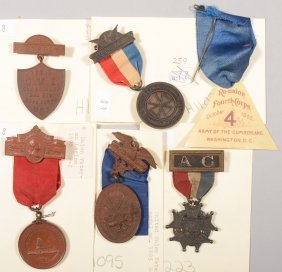 Lot Of (5) Veteran Reunion Medals And A Ribbon: 4th