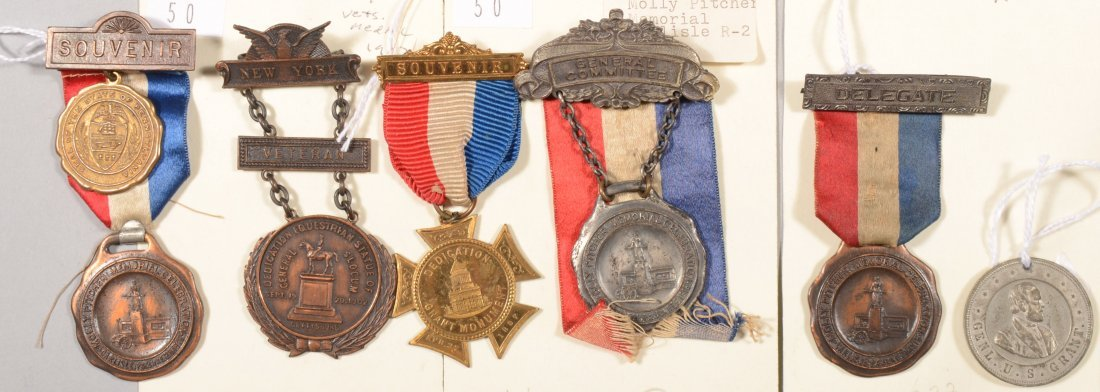 50: Lot of (5) badges and (1) medal for dedication of m