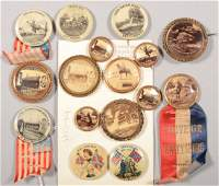 Lot of (16) Gettysburg pinback buttons: celluloid a