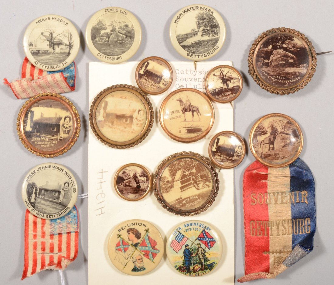 52: Lot of (16) Gettysburg pinback buttons: celluloid a