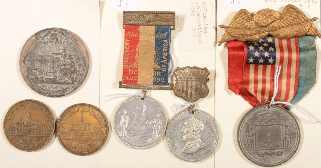 55: Lot of (5) Columbian Exposition 1892 souvenir medal