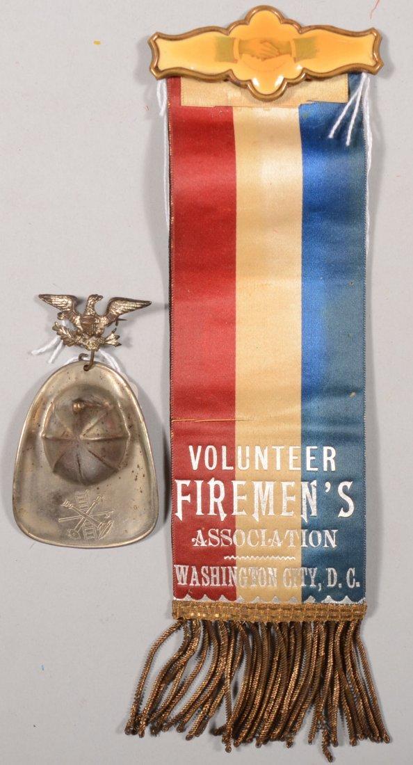 "59: Firemen's reversible dress ribbon ""Volunteer Fireme"