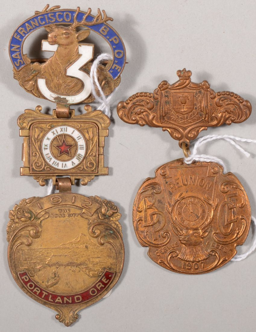 64: Lot of (2) B.P.O.E. reunion medals, 1907 and 1912.