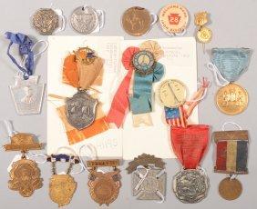 Lot Of Commemorative And Souvenir Medals, Ribbons,