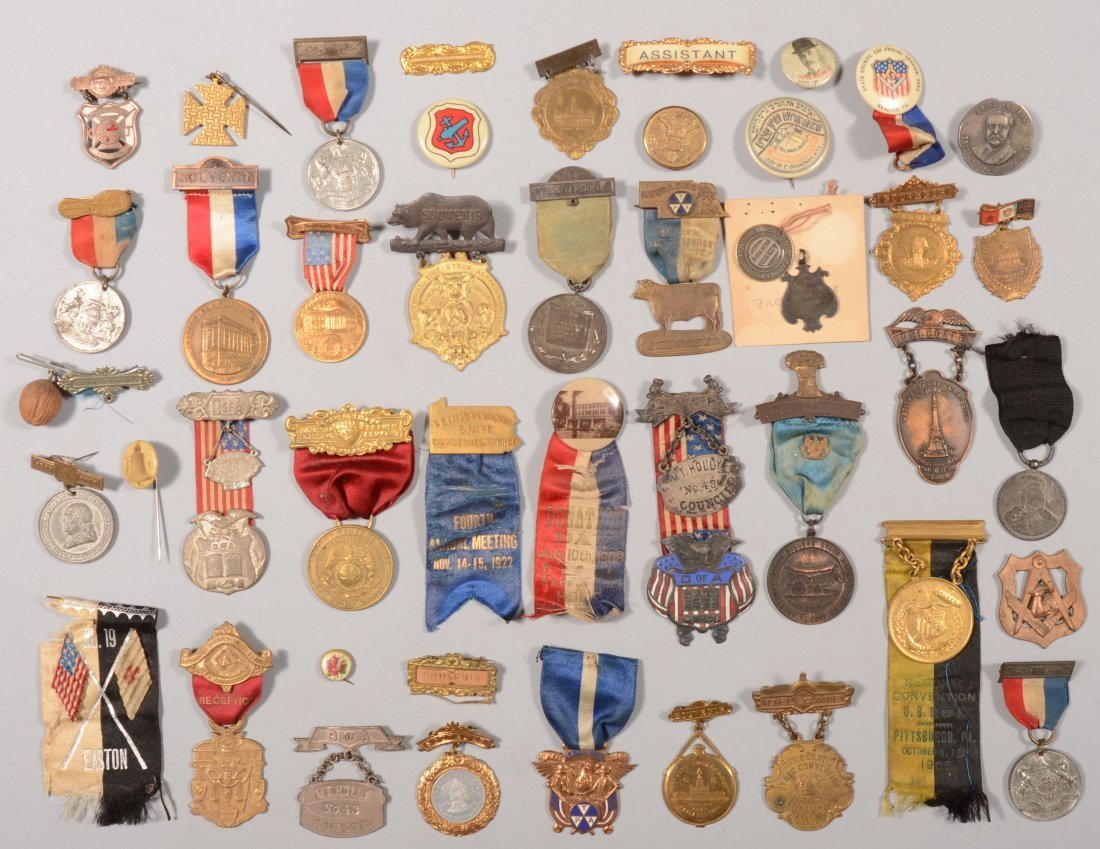 68: Lot of souvenir and convention medals, badges, ribb