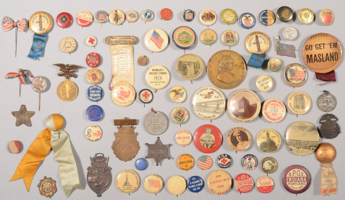 69: Lot of lithograph on tin pin-back buttons, one and