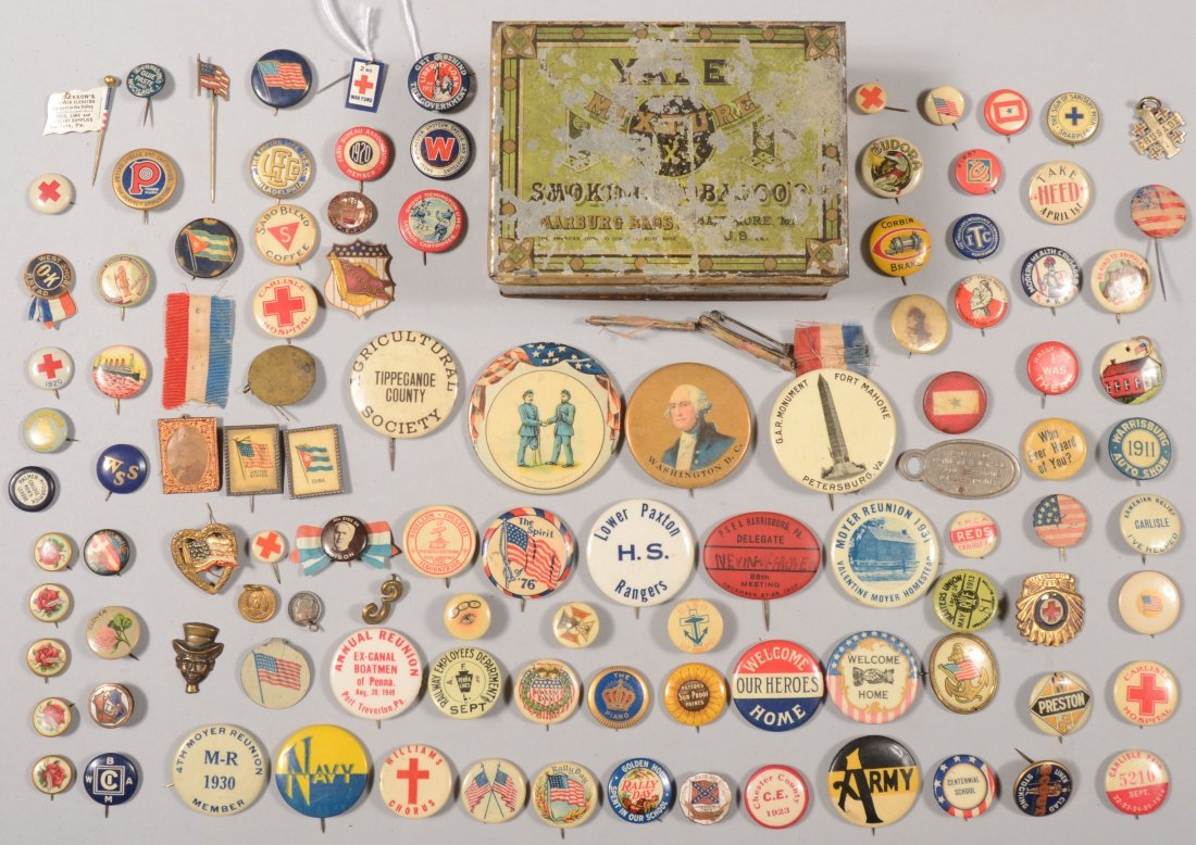 70: Lot of lithograph on tin pin-back buttons, one and