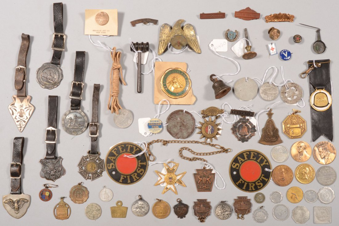 71: Watch fob collection, some military, plus assorted