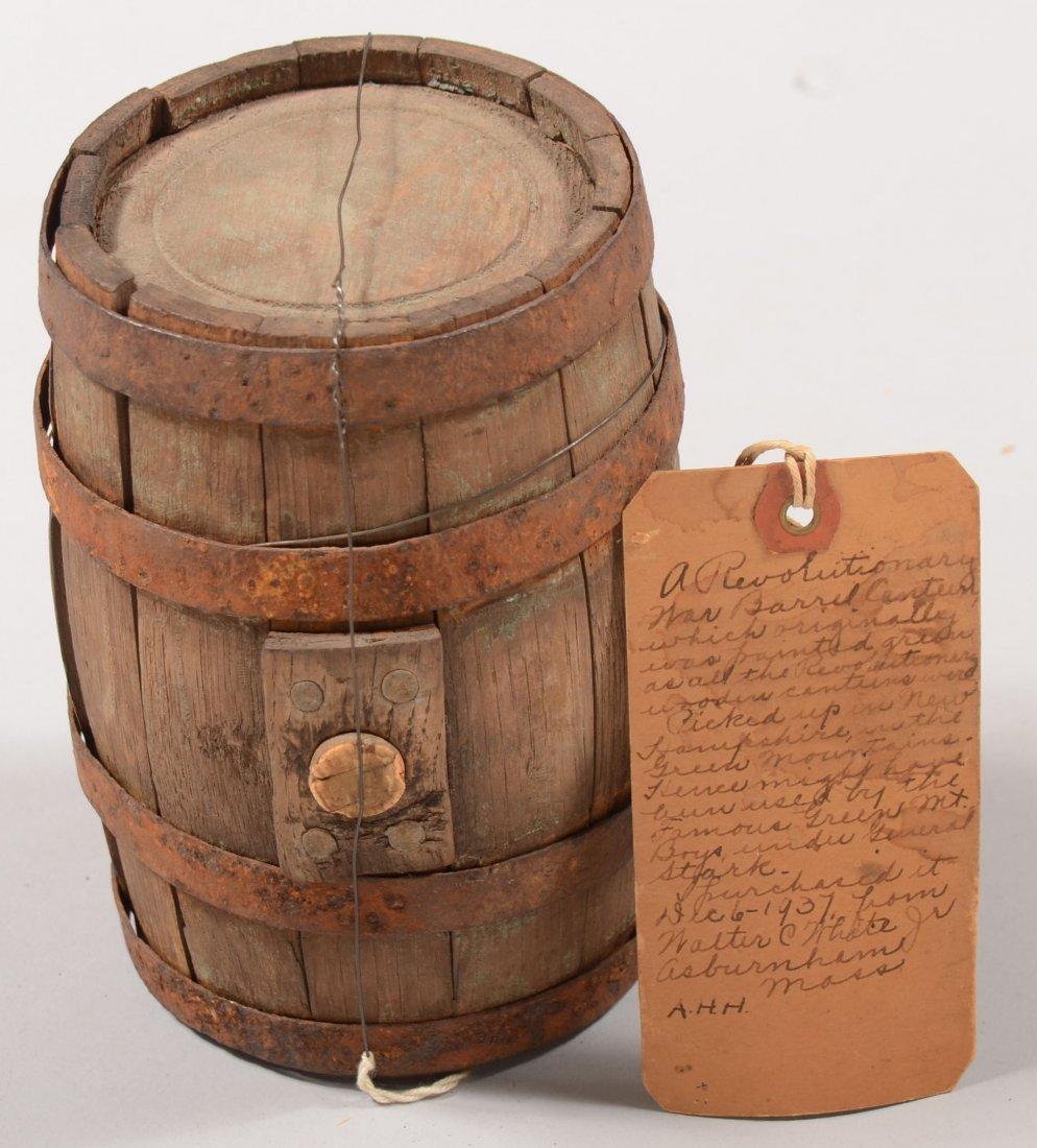72: Revolutionary War era wood barrel canteen with iron
