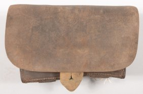 Early 19th Century Leather Cartridge Box Dyed Black