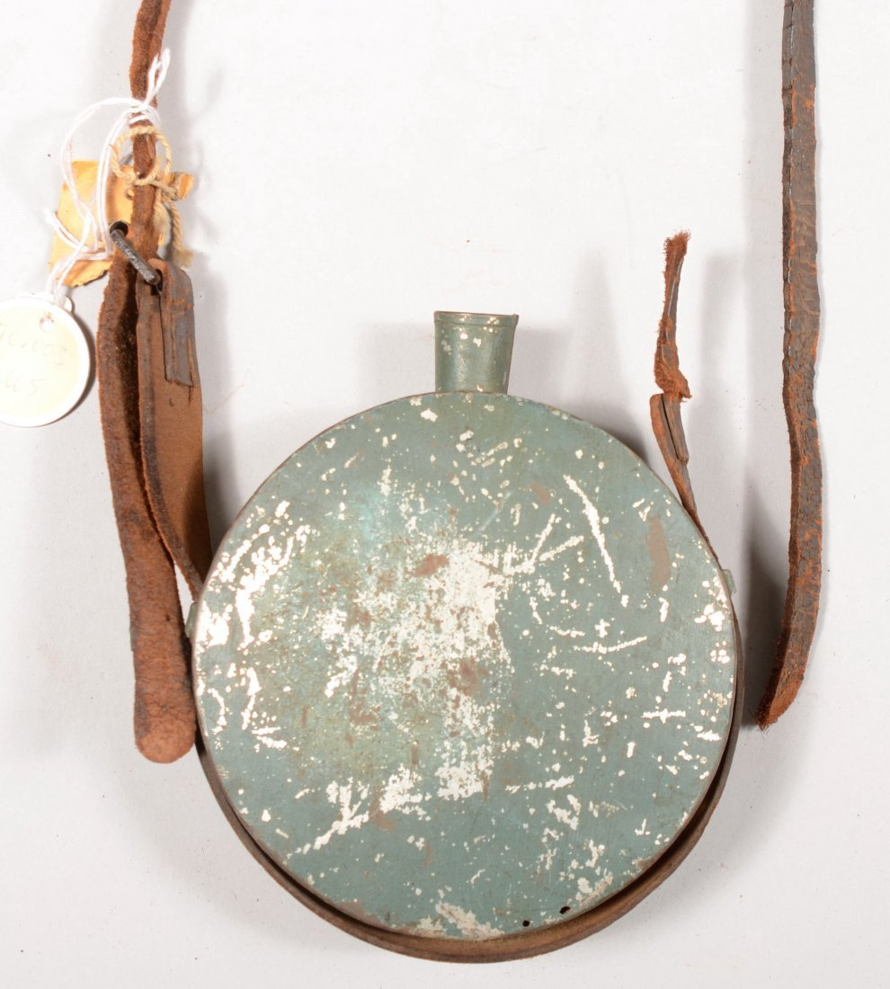 76: Green painted tin drum canteen (stopper missing) ha